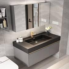 großhandel smart badezimmerschrank kombination moderne minimalistisches licht luxus rock schiefer marmor badezimmer eitelkeitwanne waschbecken locker
