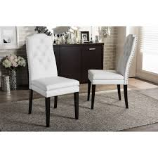 Baxton Studio Dylin Contemporary White Faux Leather With Button-tufted Nail  Heads Trim Dining Chair (Set Of 2) Chair Custom Upholstered Ding Chairs Awesome Tufted Safavieh Amanda Linen With Nail Heads Set Of 2 Back Faux Leather Light Brown Bonded Pu Accent Sensational Inspiration Ideas Nailhead Trim Julia Cream Head Roundhill Fniture C169cc Button Solid Wood Wingback Hostess Charcoal Broome Side W Nickel Of Mcr4716bset2 By With Perfect Fishing Fabric Room Home Design Ilbert