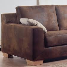 canap marron vieilli tissu ameublement fauteuil imitation cuir vieilli lavable doux