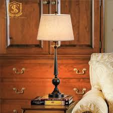 American Rustic Style Cast Iron Table Lamp E27 Fabric Shade Desk Lights Black Retro