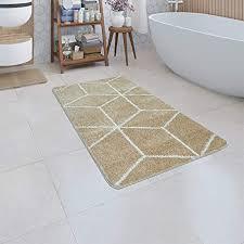 paco home badematte kurzflor teppich badezimmer karo rauten geometrisch skandi muster grösse 70x120 cm farbe beige