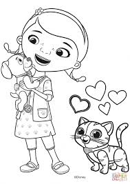 Doc McStuffins Coloring Pages Mcstuffins With Findo And Whispers Page Free Printable
