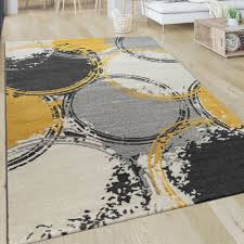 kurzflor teppich kreise gelb grau weiß teppich gelb