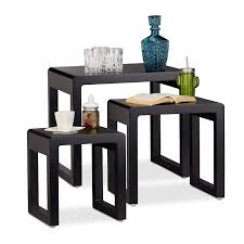 Relaxdays Nesting Tables Set Of 3, Stacking End Tables, Painted Wooden  Nested Tables, Elegant, Black Nesting Tables Set Of 2 Havsta Gray Josef Albers Tables 4 Pavilion Round Set Zib Gray Piece Oslo Retail 3 Modern Reflections In Blackgold Two Natural Pine And Grey Zoa Nesting Tables Set Of Lack Black White Contemporary Solid Wood Maitland Smith Faux Bamboo