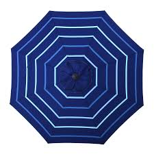 9 Ft Patio Umbrella Frame by Shop Allen Roth Blue Stripe Market Patio Umbrella Common 9 Ft