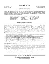 Example Sales Professional Resume Free Sample