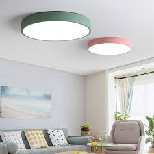 5 Color Modern LED Ceiling Lights Round Simple Decoration Fixtures Study Dining Room Balcony Bedroom Living