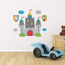 stickers chambre enfants sticker mural château fort motif enfant garçon pour chambre