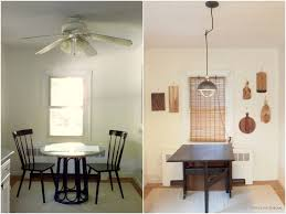 Exquisite Interior White Kitchen Ceiling Fan On Brown Wooden Over Table Popular Dining Room