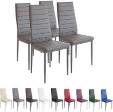 jeobest esszimmerstühle 4stk hochlehner esszimmer kunstleder leder polster stuhl grau