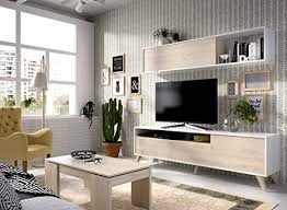 liquidatodo nordisches wohnzimmer 180 cm modern und günstig in natur und weiß glänzend