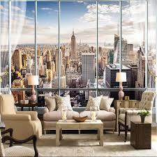 beibehang tapete 3d stereo große wandbilder modernen falsche windows wohnzimmer sofa bett schlafzimmer new york flash silber tuch tapete