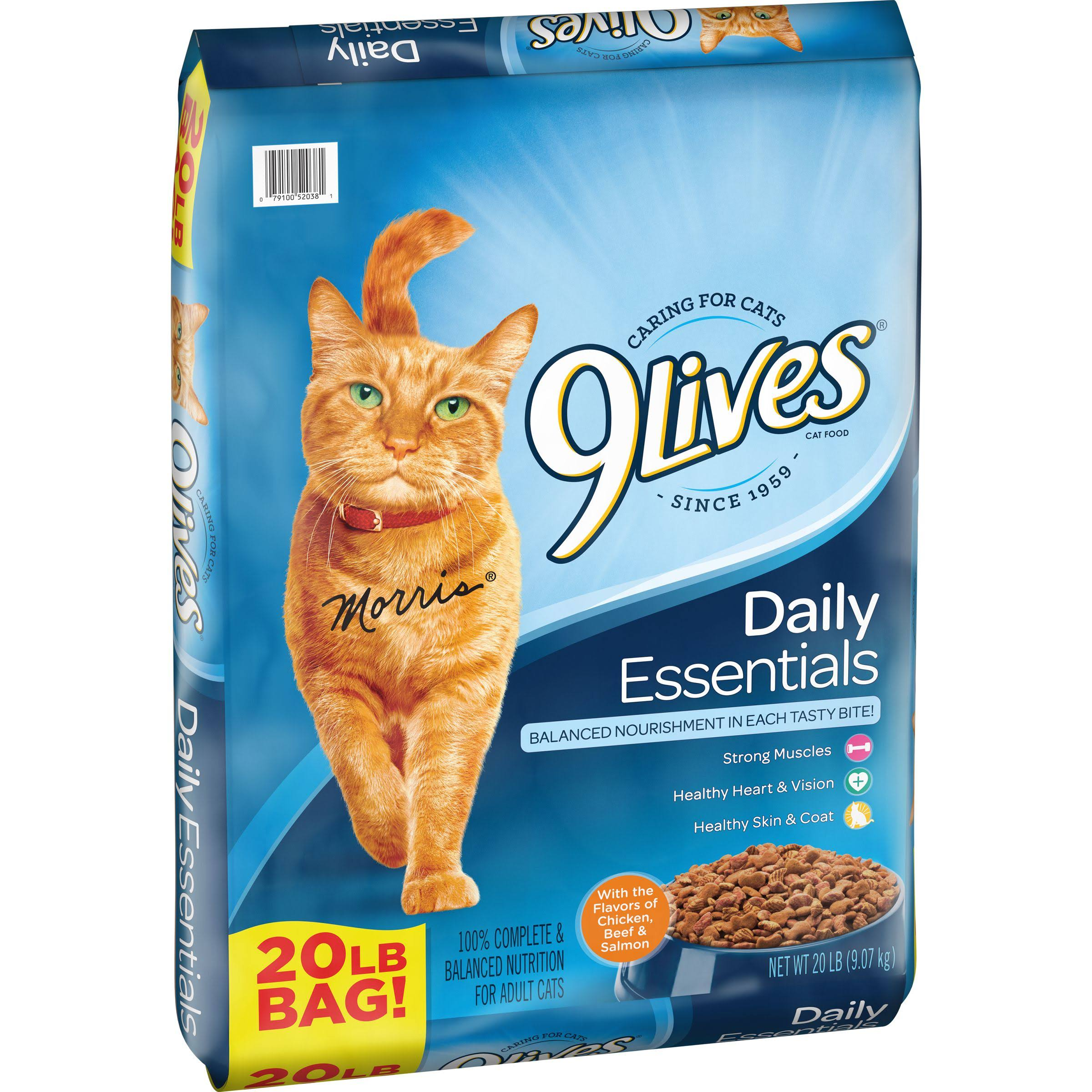 9Lives Daily Essentials Dry Cat Food - Salmon, Chicken and Beef, 20lbs