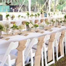 Rustic Wedding Decoration Burlap Chair Sashes Jute Tie Bow Table Runner Lace Tableware Pouch