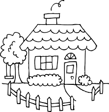 Cute Little House Coloring Page