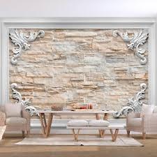 details zu vlies fototapete steinoptik steinwand 3d effekt tapete wandbilder wohnzimmer