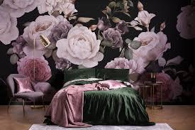 fototapete dunkelfarbene blumen lila pink