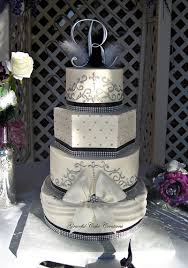 Elegant Black White And Silver Buttercream Wedding Cake With Bling