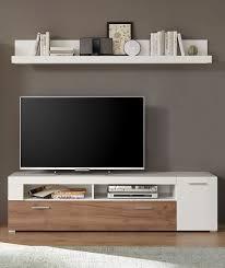 lowboard menorca inkl wandregal weiß wildeiche dunkel 180cm tv schrank fernsehtisch wohnzimmer