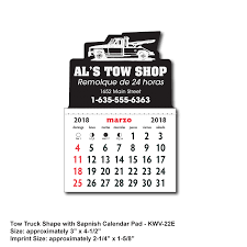 100 Tow Truck In Spanish KwikStik Designer Shaped Textured White Vinyl With SPANISH Calendar Pad