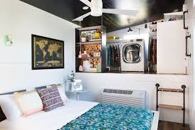 A 400-Square-Foot House In Austin Packed With Big Ideas - Small ... Tiny Home Interiors Brilliant Design Ideas Wishbone Bathroom For Small House Birdview Gallery How To Make It Big In Ingeniously Designed On Wheels Shower Plan Beuatiful Interior Lovely And Simple Ideasbamboo Floor And Bathrooms Alluring A 240 Square Feet Tiny House Wheels Afton Tennessee Best 25 Bathroom Ideas Pinterest Mix Styles Traditional Master Basic