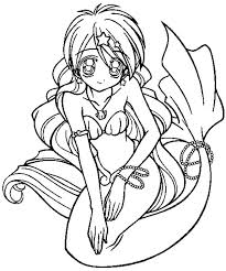 Cute Mermaid Coloring Pages 15 In Anime Style Page