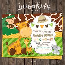 Cute Safari Animals Baby Shower Invitation Printable Invitation