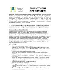 Research Cover Letter Clinical Assistant The Sample