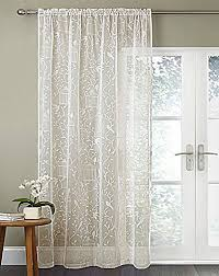 Sheer Voile Curtains Uk by White Sheer Voile Curtain Panel With Flock Birdcage Design 55