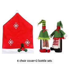 Yugos 6 Christmas Chair Covers And 2 Packs Wine Bottle For Holiday Party Festival Kitchen Dining Room