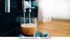 Coffee Machine Making In Morning With Crema