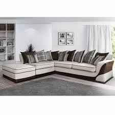 tissu canapé canapé angle gauche en tissu beige et marron casablanca dya