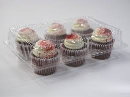 6 Cavity Cupcake Containers With Standard Lid