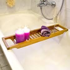 Bath Caddy With Reading Rack Uk by Relaxdays Bamboo Bathtub Caddy Wooden Bathroom Rack 4 X 64 X 15