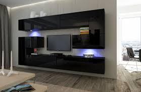 wohnzimmer set 10 einzelteile anbauwand wohnwand wohnwände schrankwand modernes wohnzimmer neu albania nx 3 schwarz hochglanz