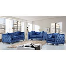 Reese Light Blue Velvet Sofa W Tufted Back Arms On Metal Legs By Meridian Furniture