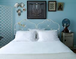 Inspired Iron Headboards Look Melbourne Eclectic Bedroom Decoration Ideas With Antique Furniture Artwork Blue Paint On Walls Contemporary