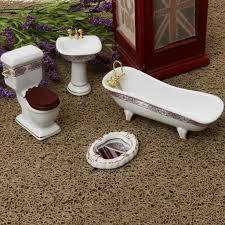 4 stücke weiß porzellan bad modell set für 1 12 puppenhaus miniatur funiture