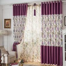 purple floral printed chenille living room curtains photos