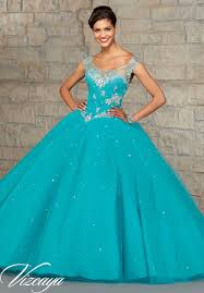 embroidery and beading on tulle quinceanera dress style 89031