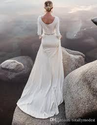 Long Sleeves Modest Wedding Dresses 2017 Beaded Belt Jersey Beach