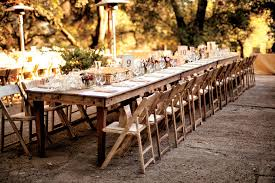 Rustic Vintage Wedding Reception Ideas With Long Small Rattan Boxes On Wooden Table And Folding