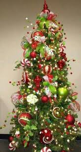 Lime Green And Red Decorated Christmas Trees