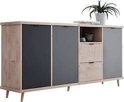 newfurn kommode grau eiche hirnholz sideboard modern vintage
