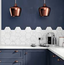 Hexagon Tiles Large White Honeycomb Tile In Navy Kitchen Copper Pendant Lights Keurig Coffee Cups