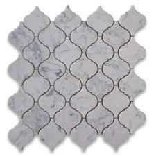 carrara marble mosaic tile white medium lantern shaped arabesque