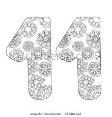 Zen Coloring Book For Adults Number Eleven Figure 11 Tangle Pattern Flower Vector Illustration