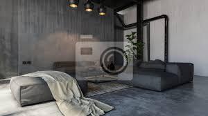 fototapete geräumiges wohnzimmer im loft stil