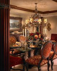 Luxury Red Upholstered Chairs In Dining Room