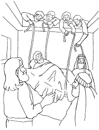 Jesus Heals A Paralytic Mark 21 12 From Thru The Bible Coloring Pages